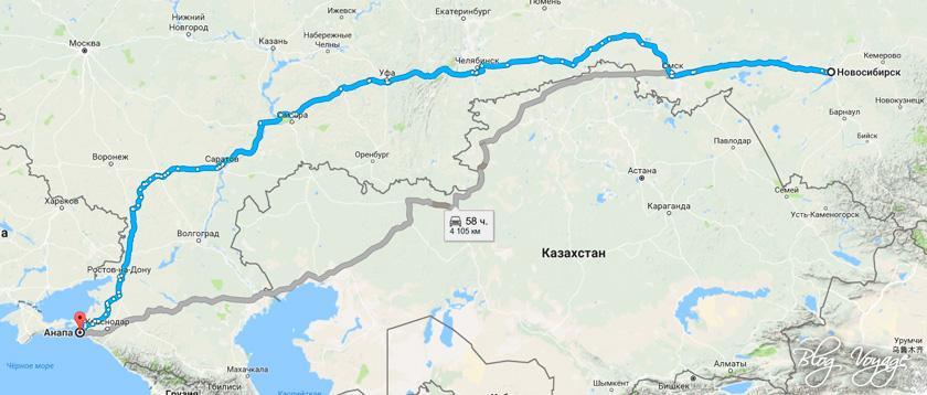 Карта Новосибирск-Анапа
