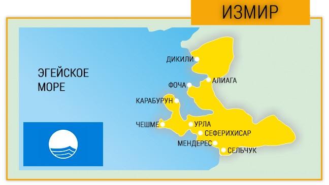 Города в провинции Измир с пляжами, обозначенными Голубым флагом