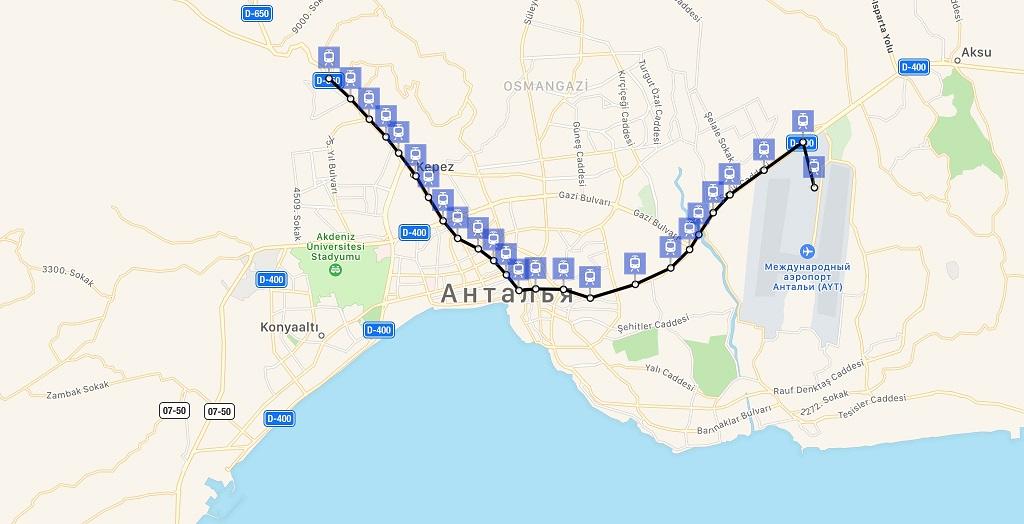 Как на трамвае добраться из аэропорта Антальи в центр города