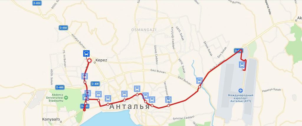 Как добраться из аэропорта Анталии в город автобусом