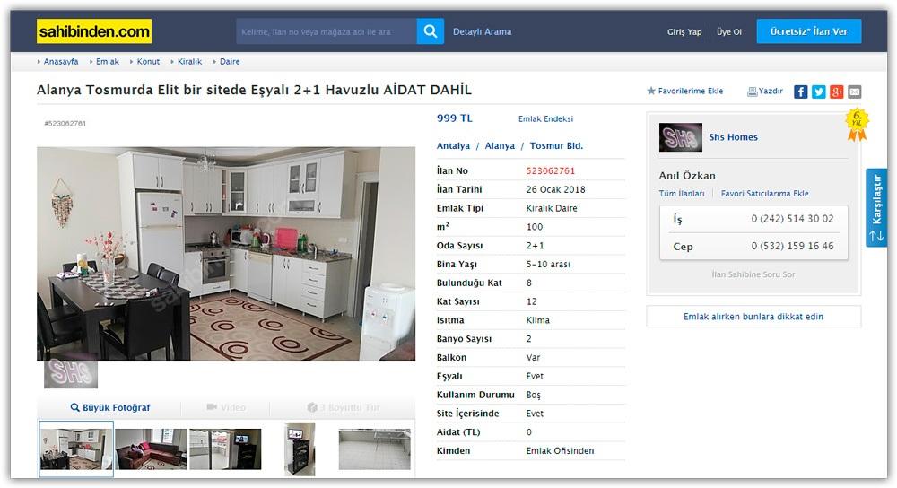 Сайт Sahibinden для аренды жилья в Турции