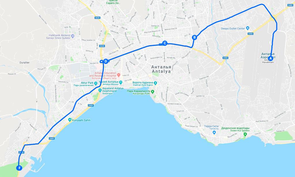 Как доехать на автобусе 400 из аэропорта Антальи