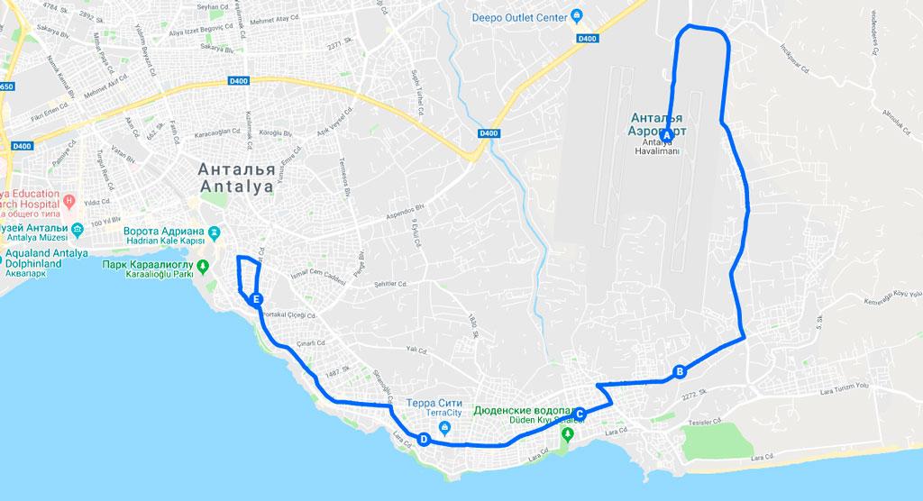 Как добраться на автобусе 800 из аэропорта в центр Антальи