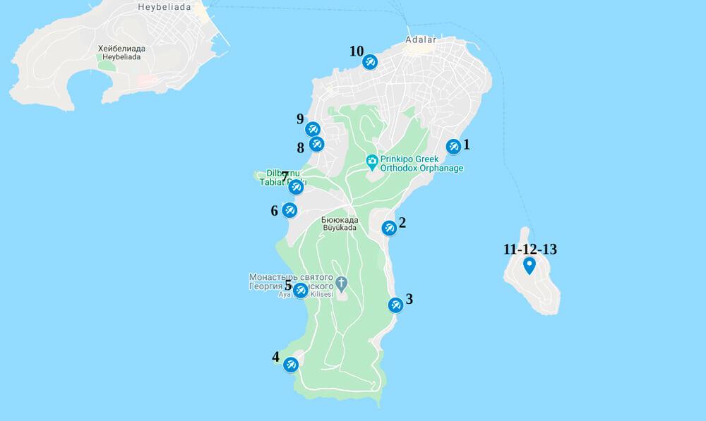 Пляжи острова Бююкада на карте
