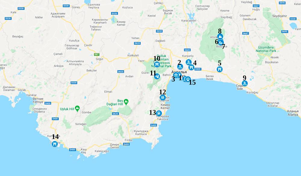Карта интересных мест в Анталии
