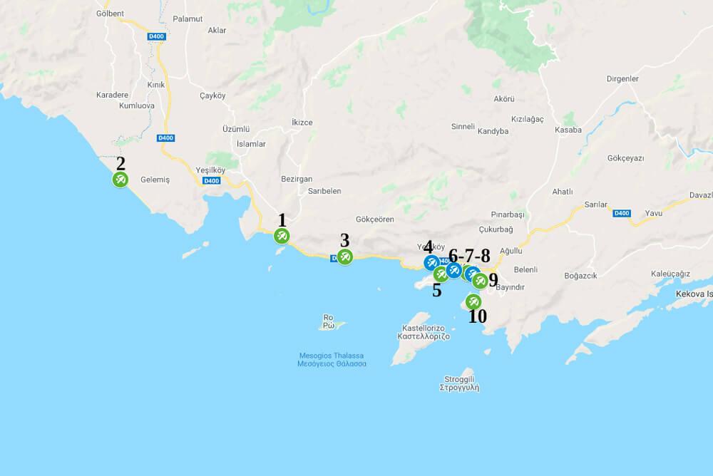Пляжи Каша на карте